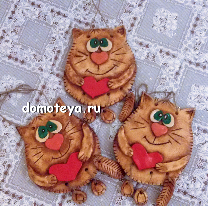 кошки из соленого теста