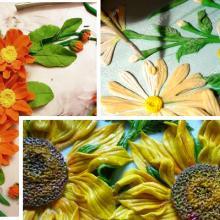 Картины с цветами из соленого теста