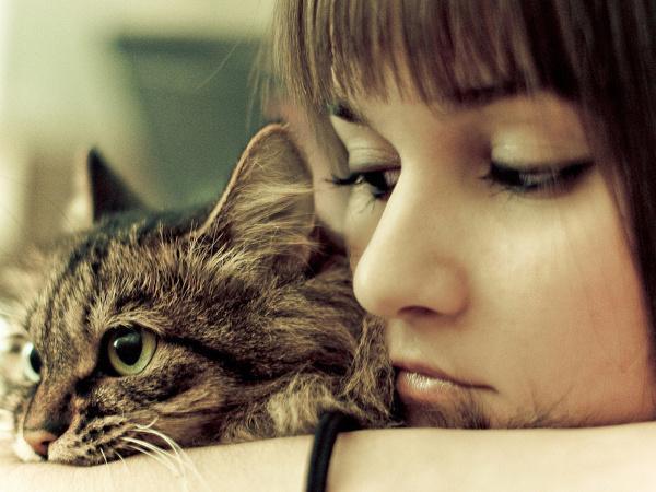 Девушка грустит с котом